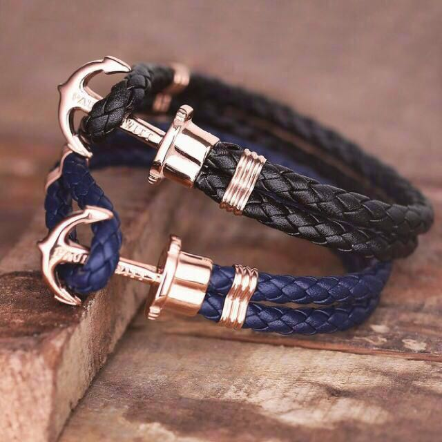 paul hewitt rose gold phrep anchor bracelet leather black navy blue men 39 s fashion on carousell. Black Bedroom Furniture Sets. Home Design Ideas