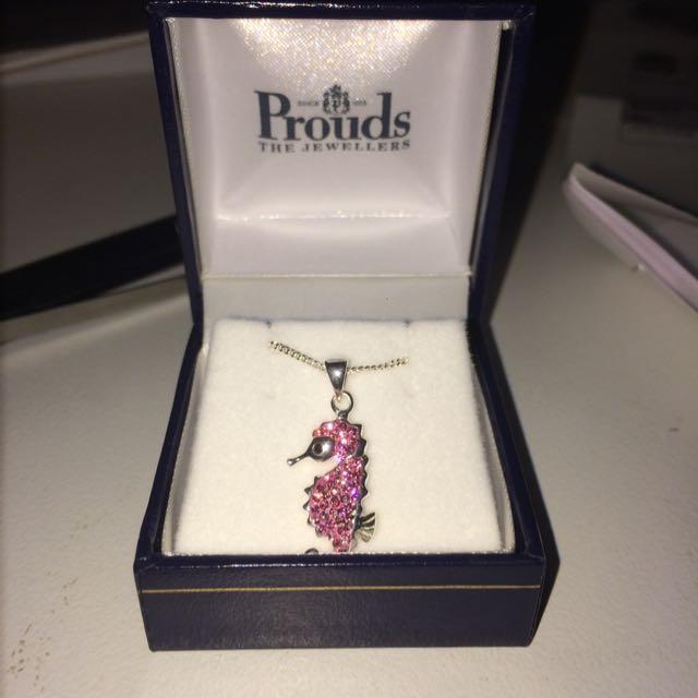 Pink Seahorse Necklace