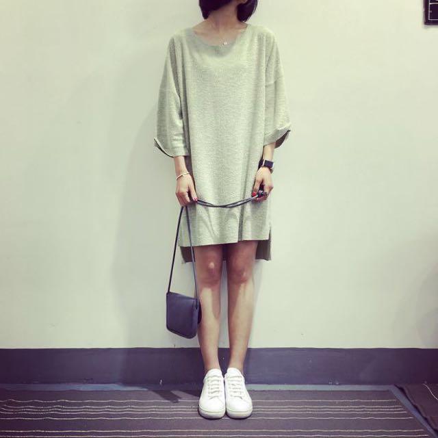 韓版寬鬆慵懶中長款毛圈五分袖T恤 顯瘦休閒連衣裙
