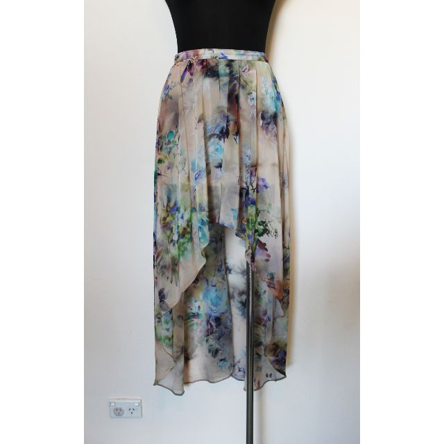 TOPSHOP HIGH-LOW FLORAL MAXI SKIRT