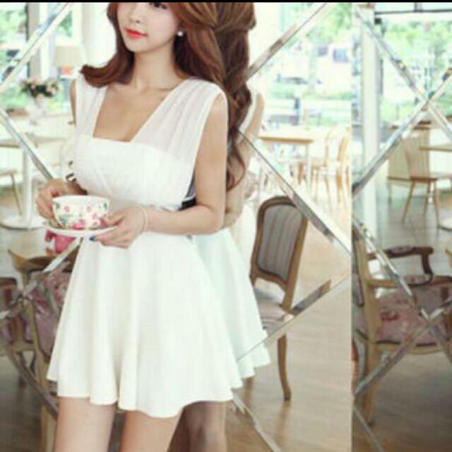 雪紡紗v領連身裙