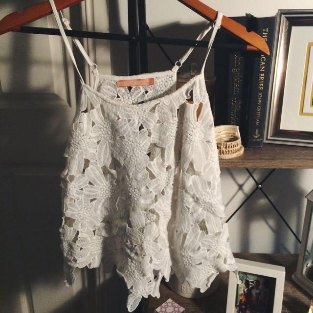 White Flower Crochet Top