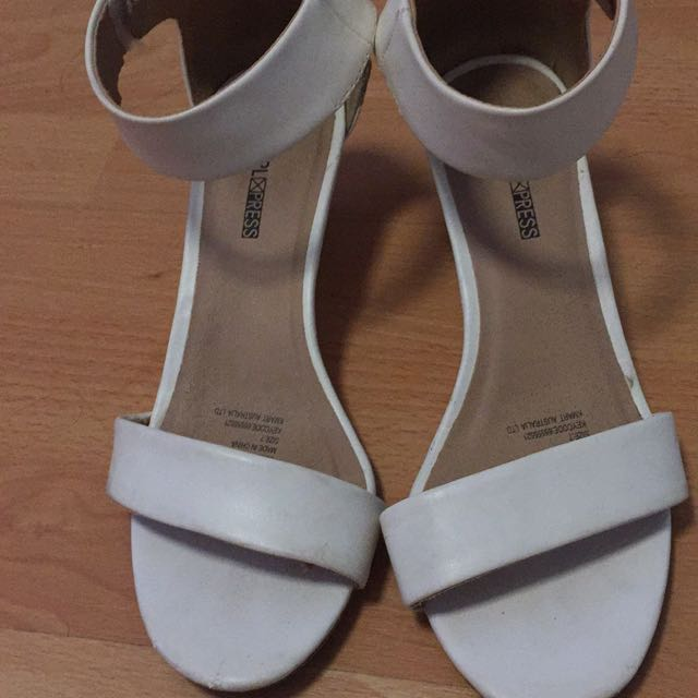 White Low High Heels Size 7