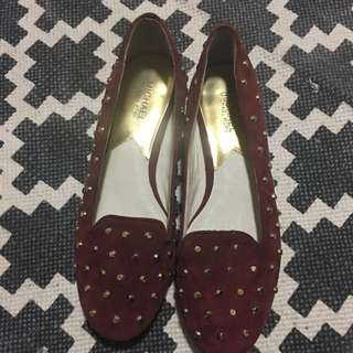 New Michael Kors Sz 9.5 Maroon Studded Suede Leather Flats Ballet Shoes