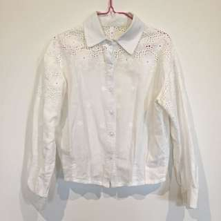 White Crochet Shirt Size 6