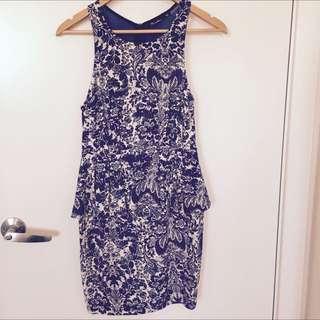 Size 10 Peplum Mini Printed Dress