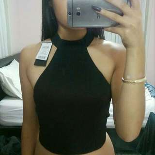 Size 6-8 Black High Neck Crop Top