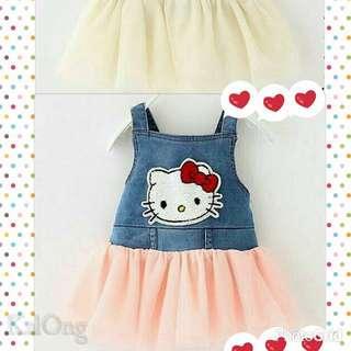 現貨-粉色Kitty 牛仔拼接洋裝
