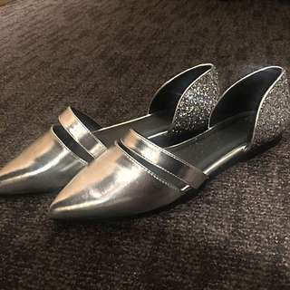 Bling Bling Silver Flat Shoes