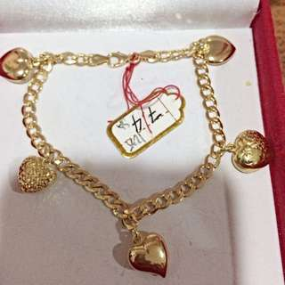 Hearts Bracelet Real Gold 750 - 7.4 Grams