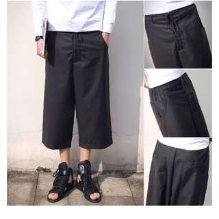 Punk Style Men Loose Fitted Black Pants
