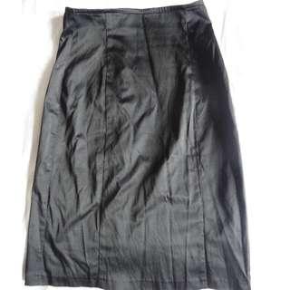 Wayne Cooper Black Satin Midi Skirt