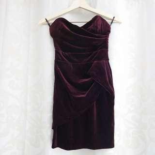 PRICE DROP *NEW Bardot Burgundy Velvet Strapless Skirt Size8
