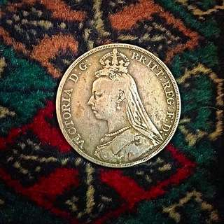 1889 Great Britain, Queen Victoria, Large Sterling Silver One 1 Crown. VF/Rare! (#518).