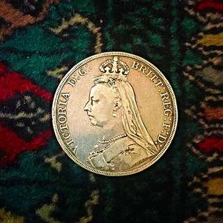 1890 Great Britain, Queen Victoria, Large Sterling Silver One 1 Crown. VF/Rare! (#519).