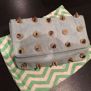 Denim Clutch With Golden Spikes