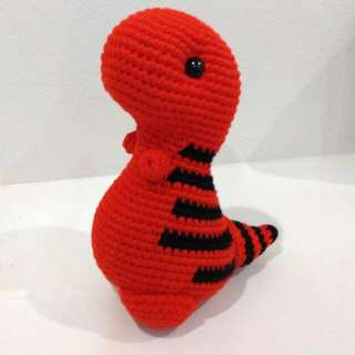 Small-Timothy the T-Rex Crochet Toy, pattern from Bluephone Studios