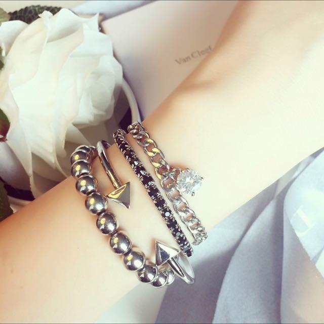 元気集®[造型時尚單品]韓國個性混搭4件組手環