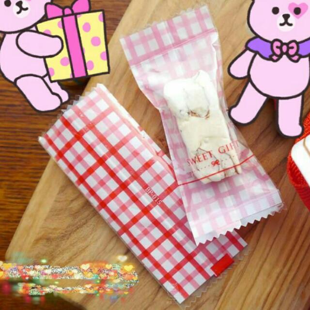 格紋糖果袋/牛軋糖包裝袋(50入)