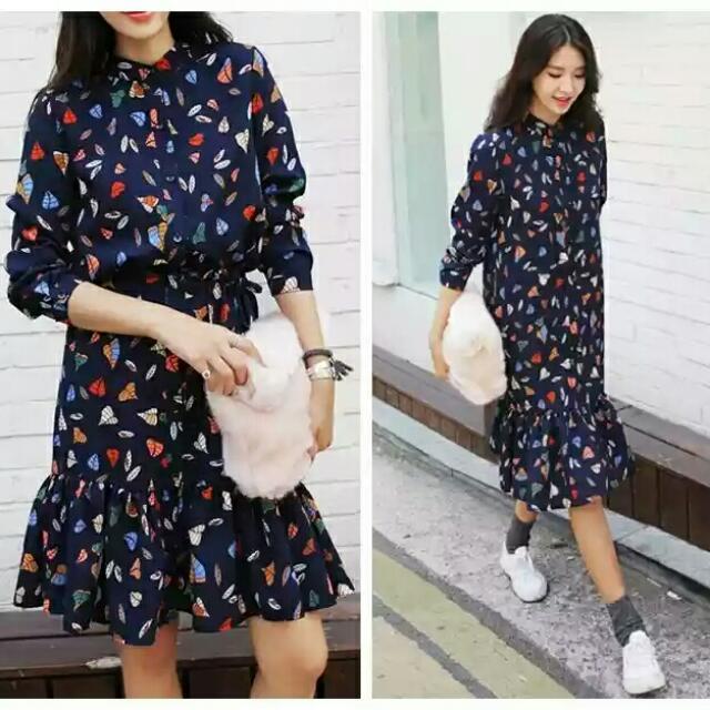 🎁韓國復古大尺碼長版幾何雪紡洋裝🎁