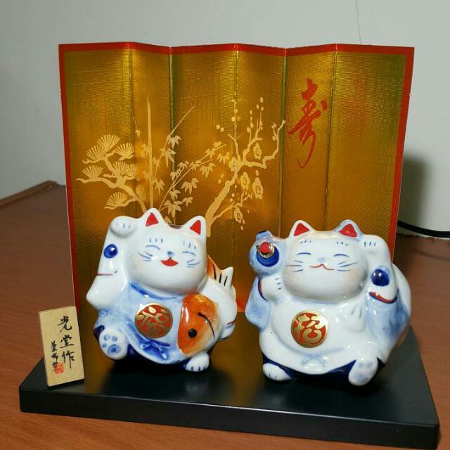 日本藥師窯招福,招財對貓