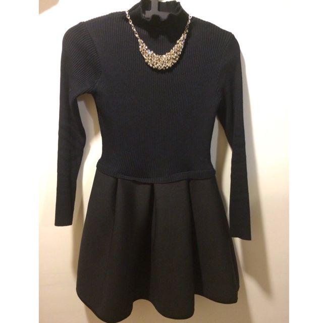 黑色針織拼接太空棉裙擺洋裝韓