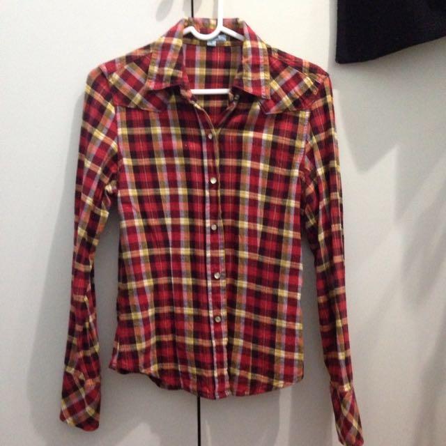 紅黃色調格子襯衫