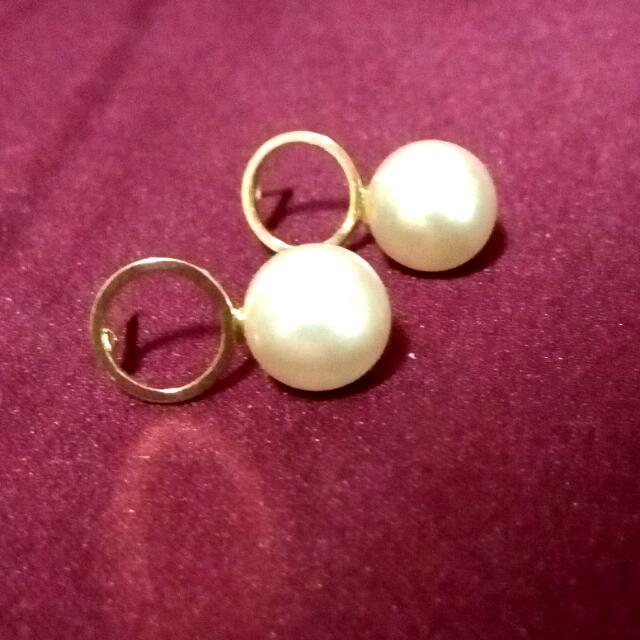 (免運)金圈珍珠小垂耳環
