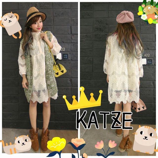 現貨一件 轉賣 KATZE 韓版洋裝 超挺蕾絲