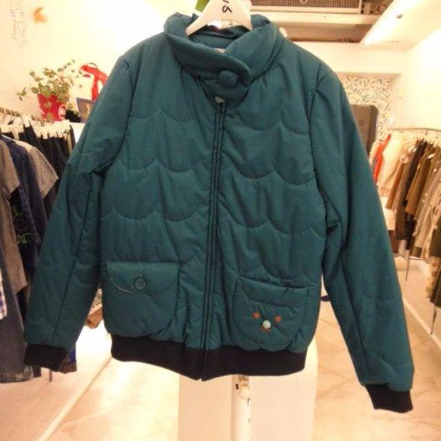 a la sha小臉造型口袋藍綠色鋪棉立領外套