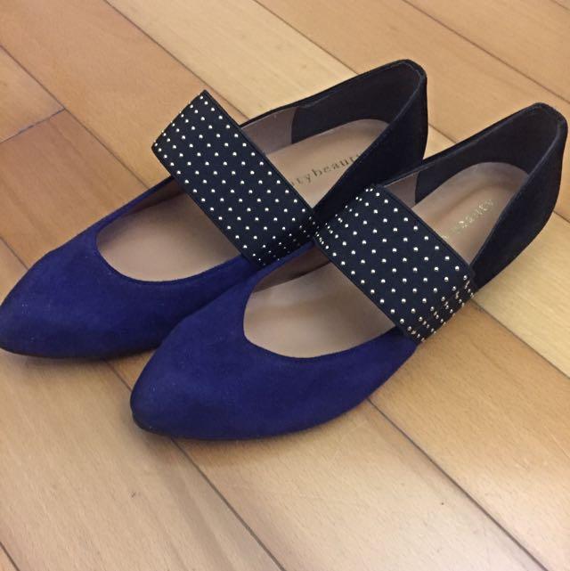 Blue & Black Flat Shoes