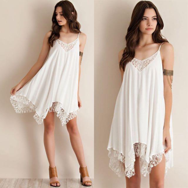 Bekend Flowy Elegant Casual White Lace Boho Chic Bohemian Straps Style &BL49