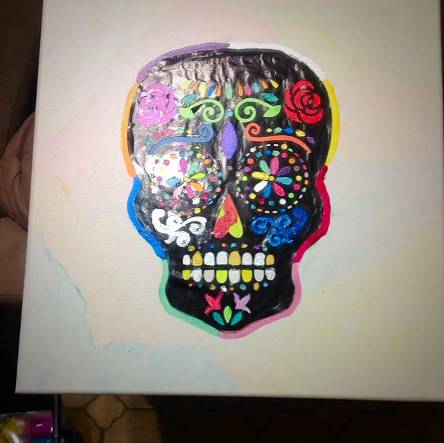 Glow In The Dark Colourful Skull Painting