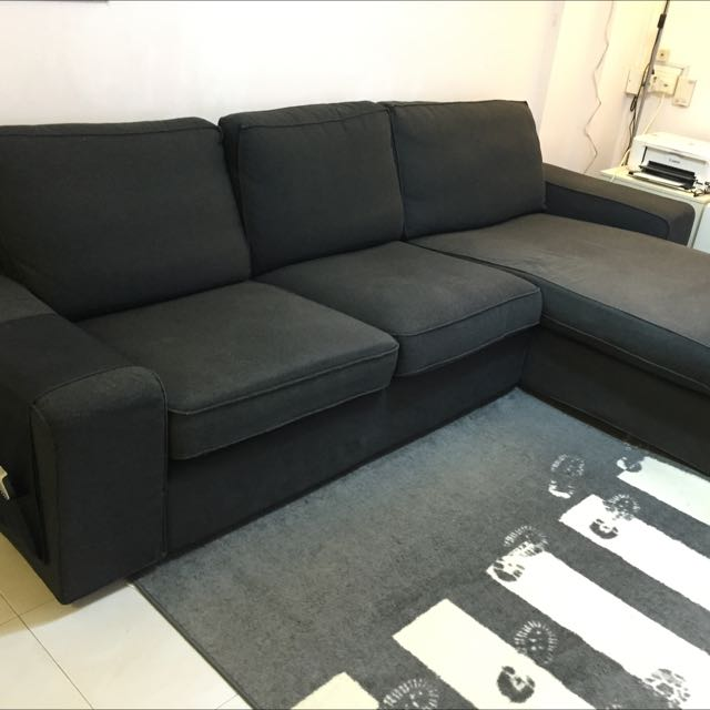 Reserved) IKEA KIVIK 2 Seater Sofa With Chaise, Furniture on ...