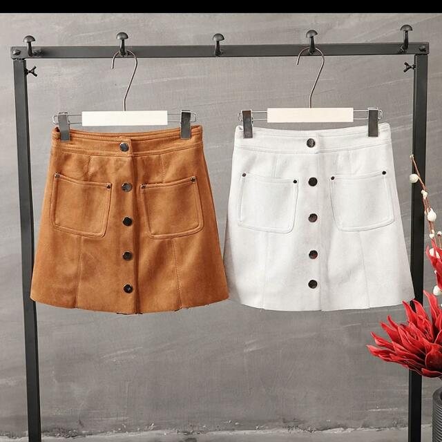 NO TRADES CAMEL SUEDE BUTTON A LINE SKIRT