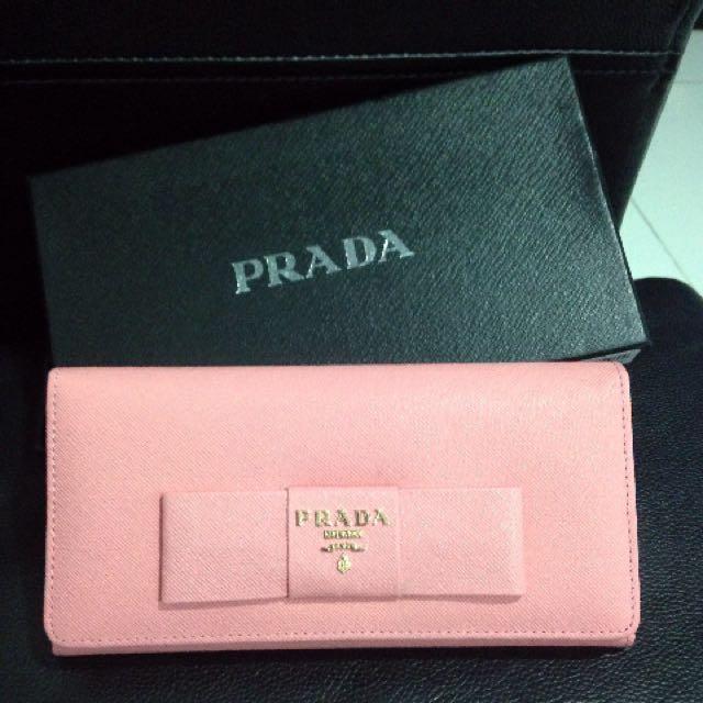 PRADA粉色長夾,附盒,全新