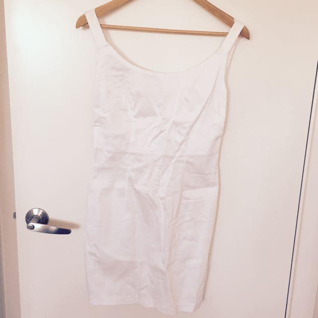 Size 10 White Low Back Mini Dress