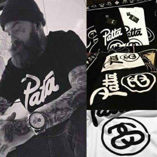 STUSSY X PATTA 聯名 純棉短袖TEE 情侶款 黑色 白色 尺寸:M L XL