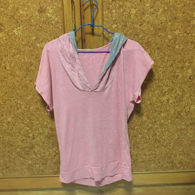 粉紅短帽T