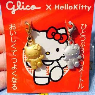Glico X Kitty 限定金銀色鎖匙扣