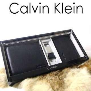 CK木盒禮盒三件組(皮夾/鑰匙圈/名片零錢夾)