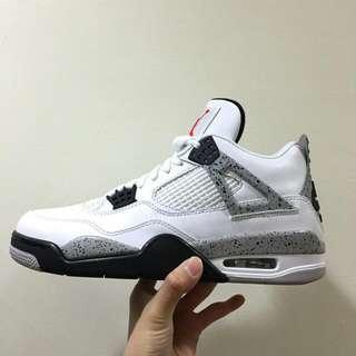 Air Jordan 4 Retro 白 白灰 經典 特殊 限量 男款 喬丹 籃球鞋 秒殺款 大理石 白水泥 籃球之神 穿搭必備 840606-192 Us 9 27 Cm。