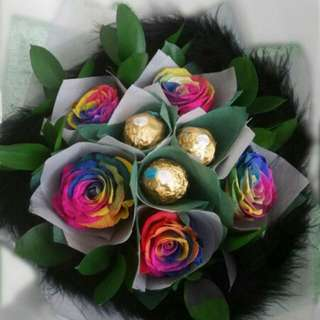 Rainbow Roses With Choc Rocher