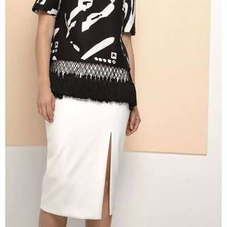 Cmeo Collective White Pencil Split Skirt XS