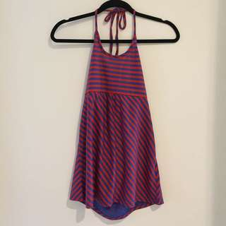 Halter Neck In Red And Blue Stripes