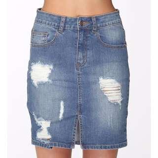Soho Destroyed Denim Skirt / Mid Summer Blue / Size 6