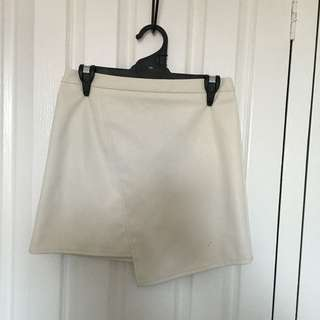Faux Leather Skirt White