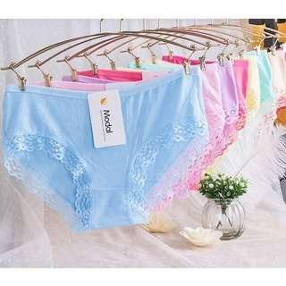 特價買五送一✨均碼蕾絲棉質彈性少女單色純色透氣舒適排汗內褲💕黑紅粉紫白藍粉紅桃紅膚綠S-L可穿三角褲