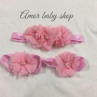 Amor baby shop 雪紡花朵 髮帶腳套組 (嬰兒寫真 拍照適用)