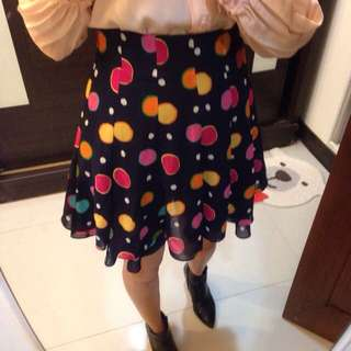 [vintage]俏皮多色彩點點 顯瘦層次造型裙